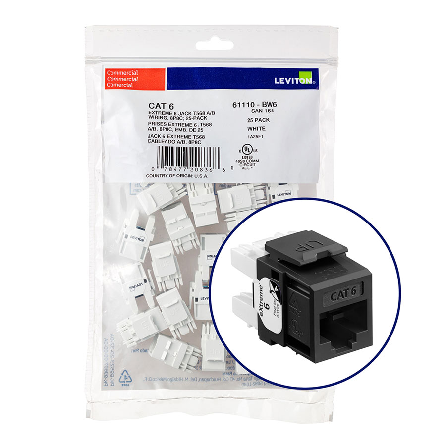 """Leviton 61110-BE6 eXtreme 6+ Connector Quickpack (Black), CAT 6, 25-pack"""