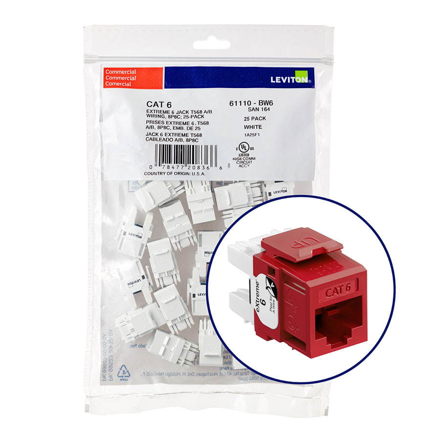 """Leviton 61110-BR6 eXtreme 6+ Connector Quickpack (Red), CAT 6, 25-pack"""
