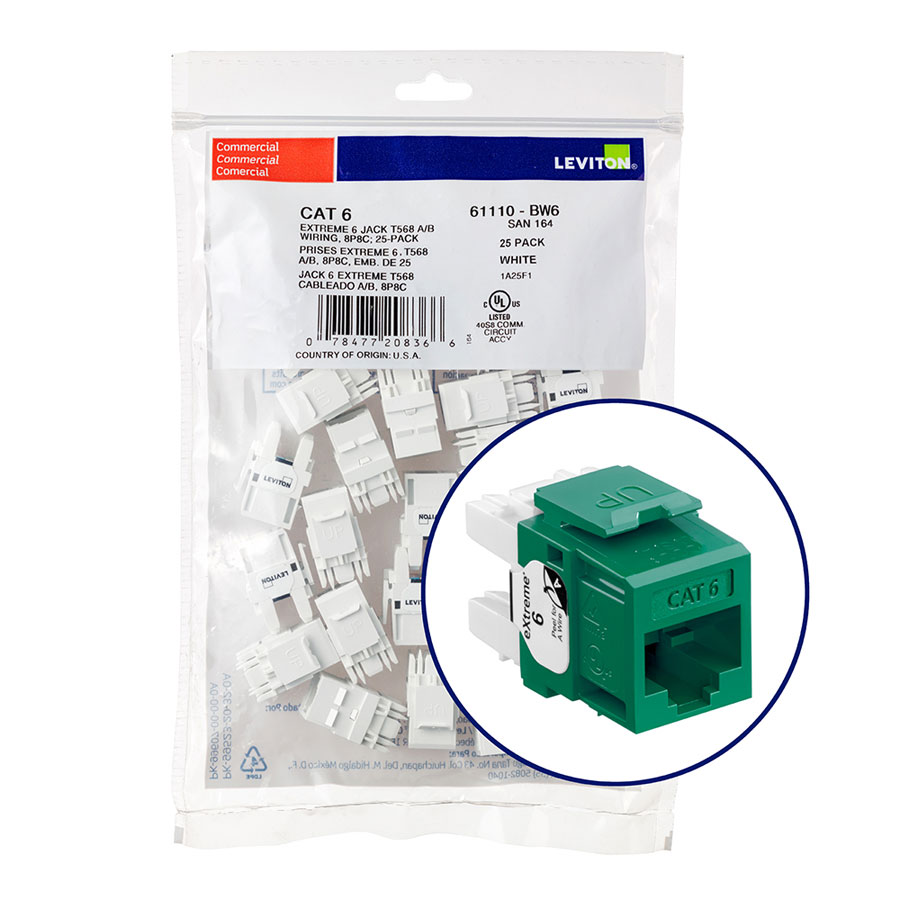 """Leviton 61110-BV6 eXtreme 6+ Connector Quickpack (Green), CAT 6, 25-pack"""