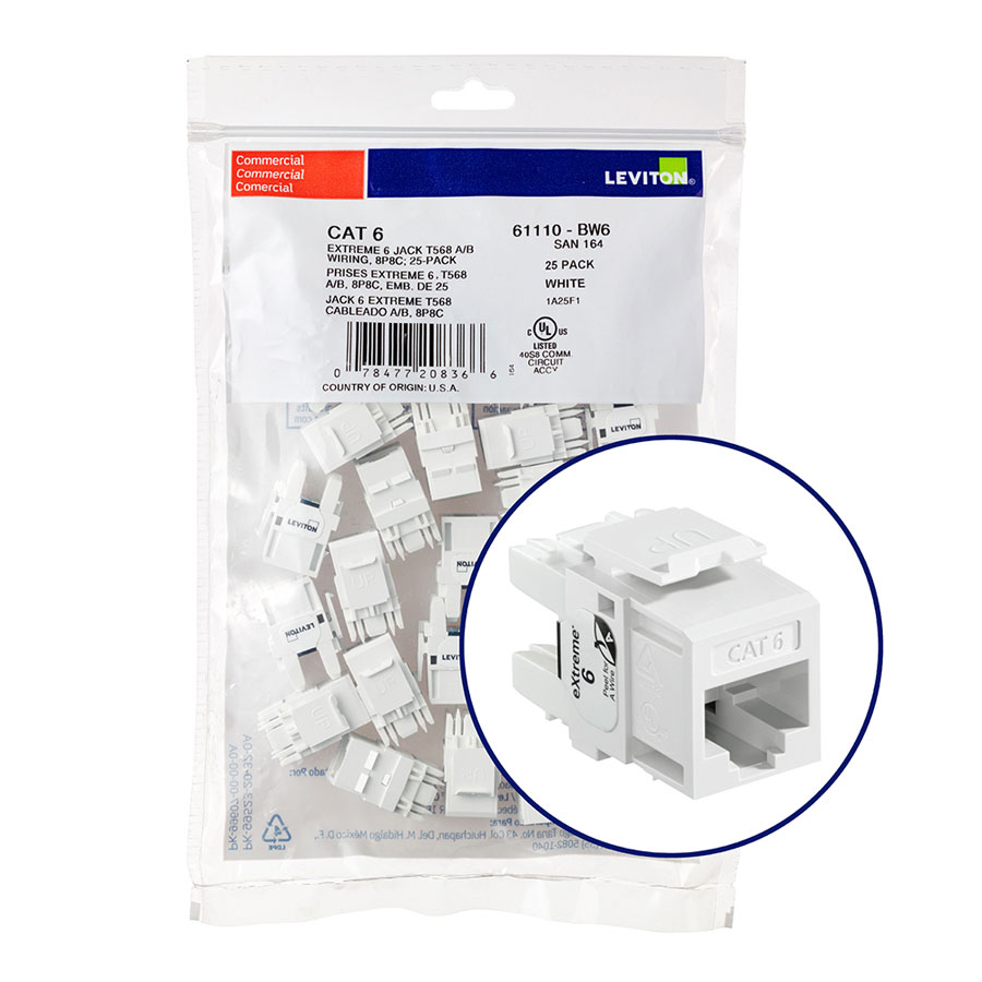 """Leviton 61110-BW6 eXtreme 6+ Connector Quickpack (White), CAT 6, 25-pack"""