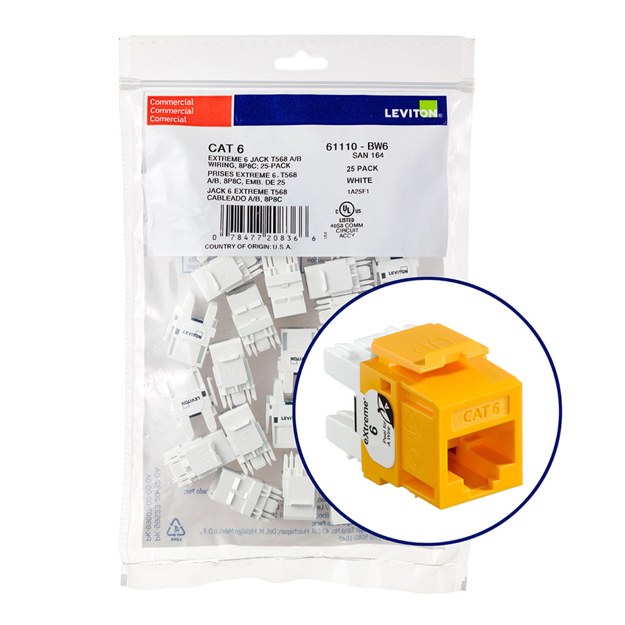 """Leviton 61110-BY6 eXtreme 6+ Connector Quickpack (Yellow), CAT 6, 25-pack"""