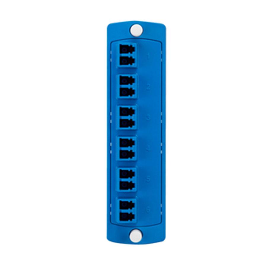 """Leviton 5F100-2LL Plate (blue), SM, Duplex LC, 12-fiber, zirc ceramic sleeve"""