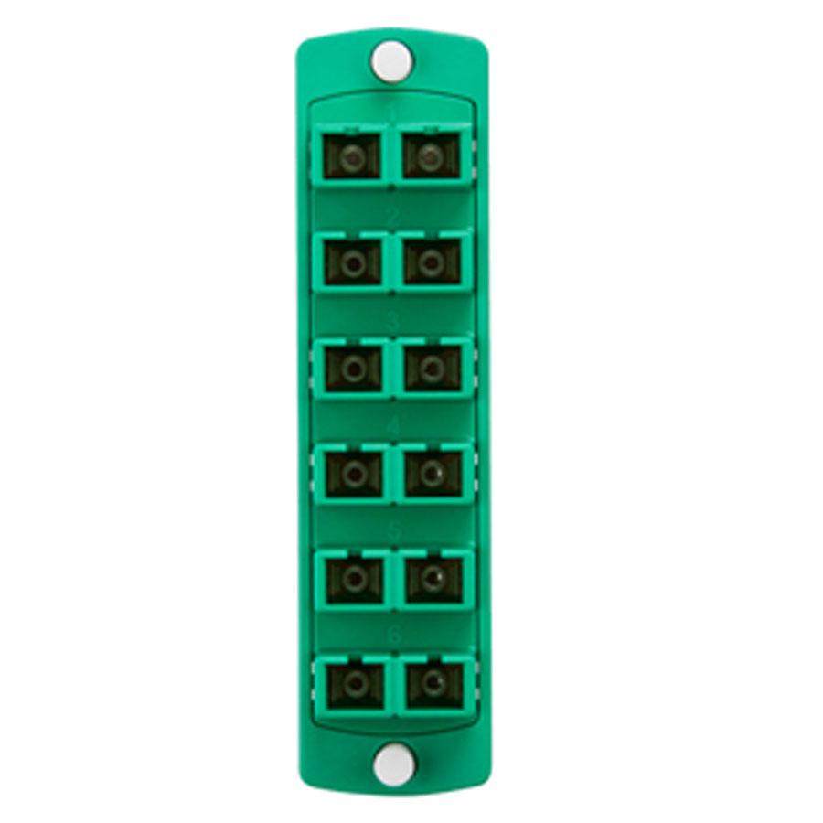 """Leviton 5F100-2VC Plate (green), SM/APC, Duplex SC, 12-fiber, zirc ceramic sleeve"""