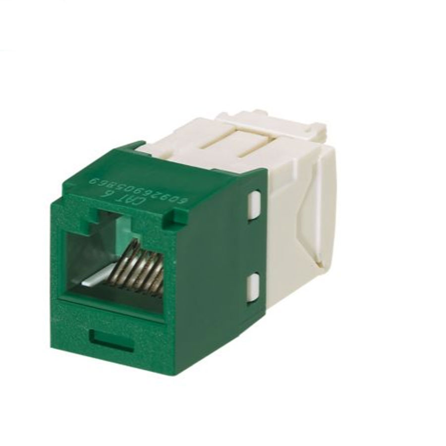 """Panduit CJ688TGGR Mini-Com Module, Cat 6, UTP, 8 pos 8 wire, Universal, Green, TG Style"""